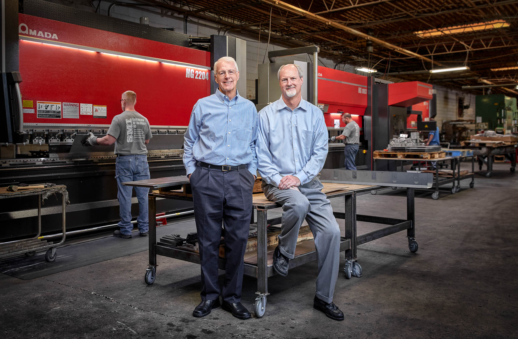 Industrial portrait of Southern MetalCraft owners shot in Atlanta