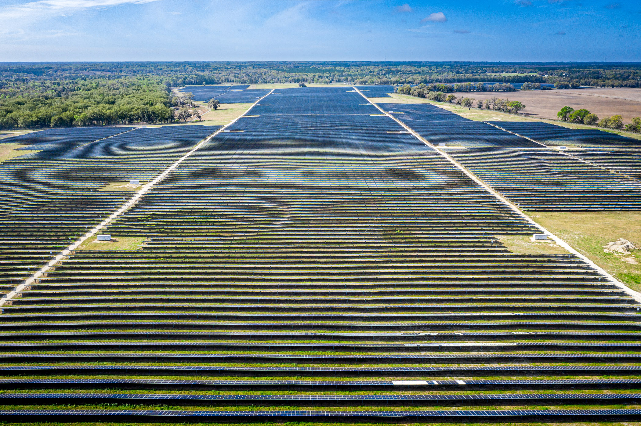 Wide drone view of Solar Farm in Florida