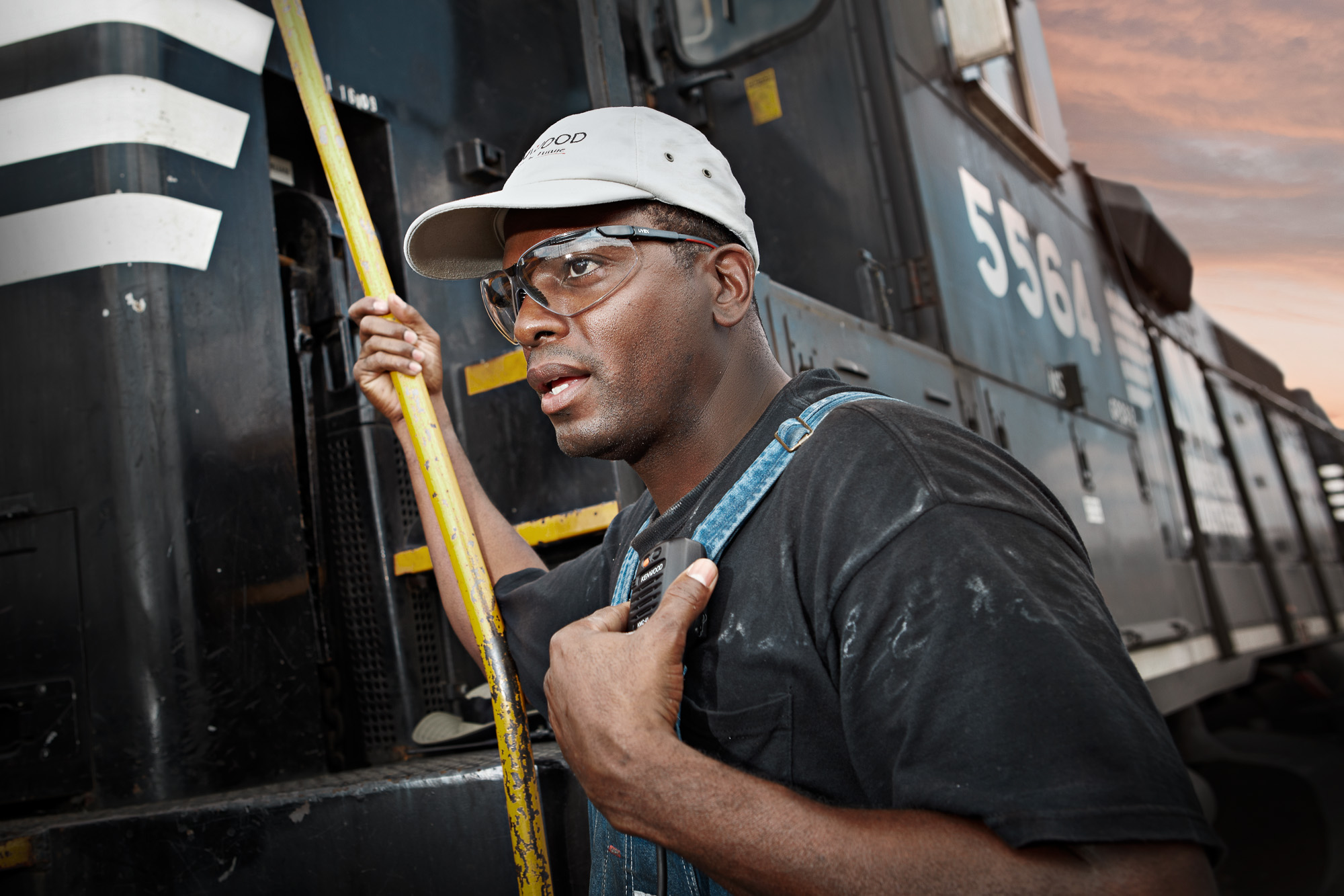 Switchman in Atlanta train yard with photographer Gregory Campbell